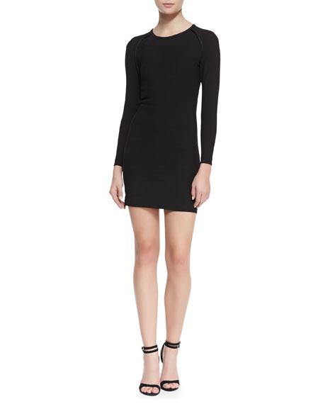 Cheryne Long-Sleeve Fitted Jersey Dress