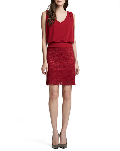Laundry by Shelli Segal Blouson Dress with Lace Skirt