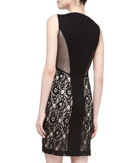 Mesh Lace Illusion Dress, Black/Nude