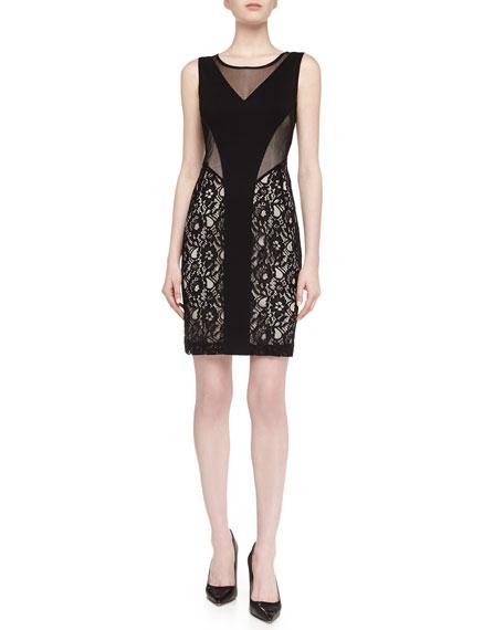 Mesh Lace Illusion Dress, Black/Nude