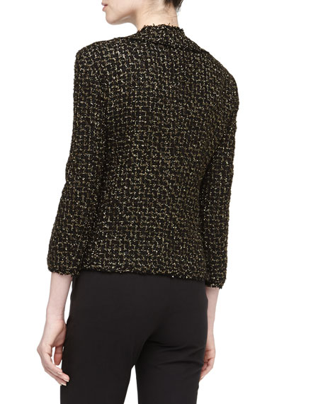 Metallic Tweed Jacket, Black/Gold