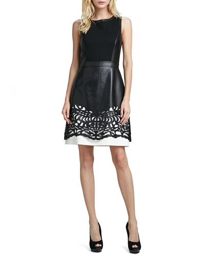 Laundry by Shelli Segal Sleeveless Faux-Leather Dress