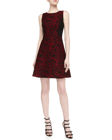 Sleeveless Floral Brocade Fit-And-Flare Dress, Berry/Black
