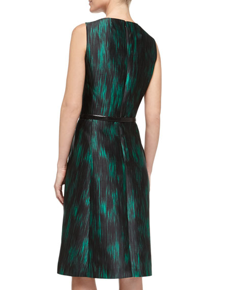 Ankara Ikat Print Pleated Fit-And-Flare Dress, Emerald/Black