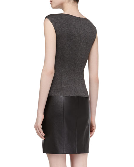 Sleeveless Faux-Leather Contrast Stretch Dress, Dark Charcoal