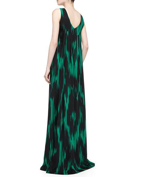 Crepe Byzantine Ikat Print Gown, Emerald/Black