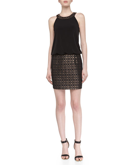 Metallic-Print Jacquard Halter Dress