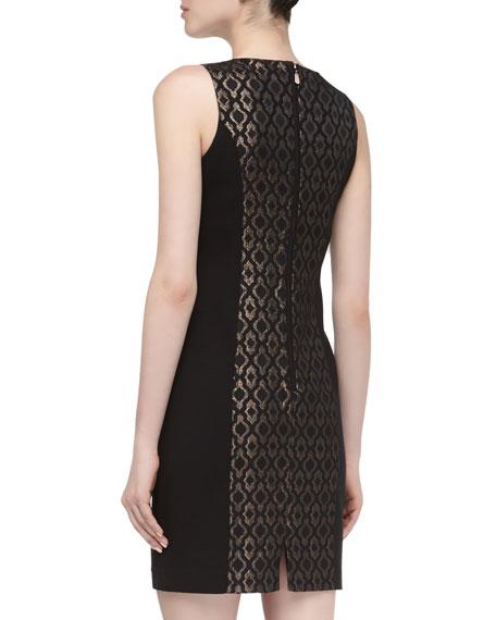 Sleeveless Metallic Jacquard Dress, Black Multi