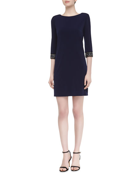 3/4-Sleeve Jewel Embellished Sateen Dress, Inkblot