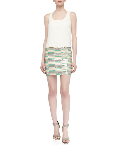 Laundry by Shelli Segal Sequined Racerback Drop-Waist Dress, Warm White