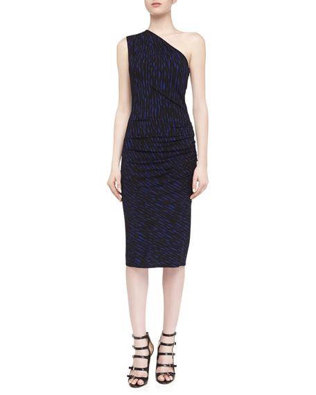 Off-The-Shoulder Draped Brushstroke Print Dress, Sapphire/Black