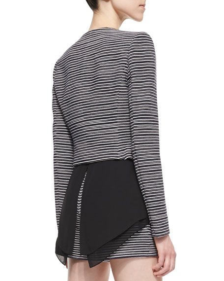 Otto Striped-Knit Jacket, Black Combo