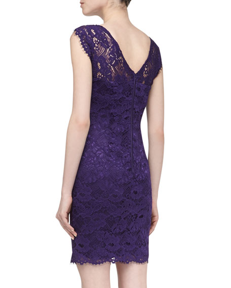 Cap-Sleeve Lace Dress, Grape