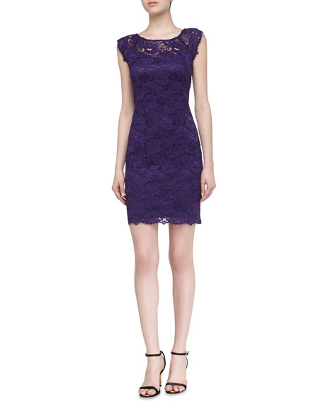 Cap-Sleeve Lace Dress, Grape