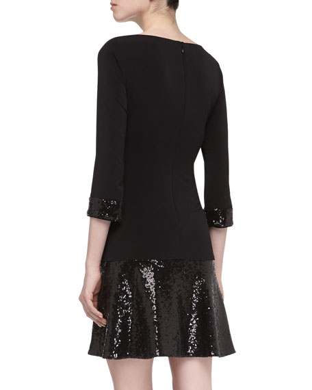 3/4-Sleeve Dropped-Waist Sequined Dress