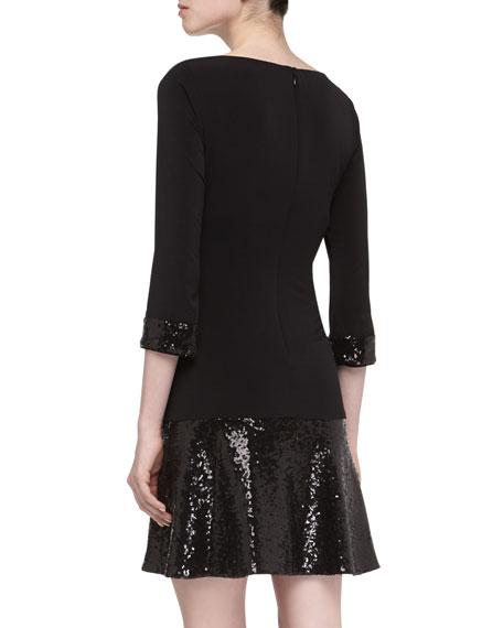3/4-Sleeve Dropped-Waist Sequined Dress
