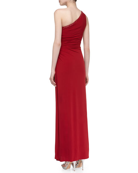 One-Shoulder Jersey Gown, Berry