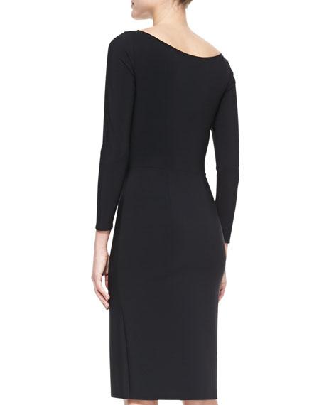 Long-Sleeve Open-Neck Cocktail Dress
