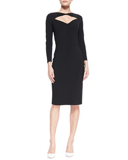 La Petite Robe di Chiara Boni Long-Sleeve Open-Neck Cocktail Dress