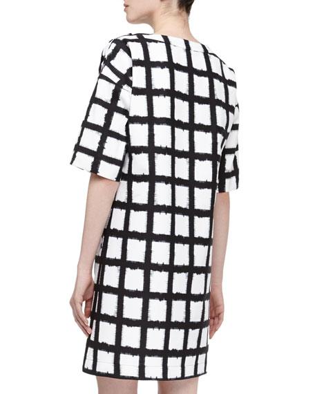 Windowpane Checked Boxy Dress, Black/Optic White