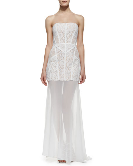 Vivienne Strapless Lace Sheer-Skirt Gown, White