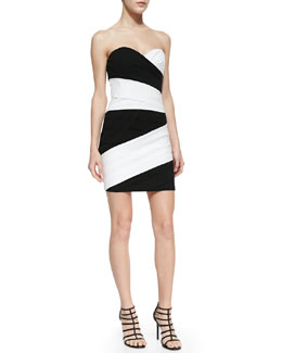 BCBGMAXAZRIA Kalea Two-Tone Strapless Dress