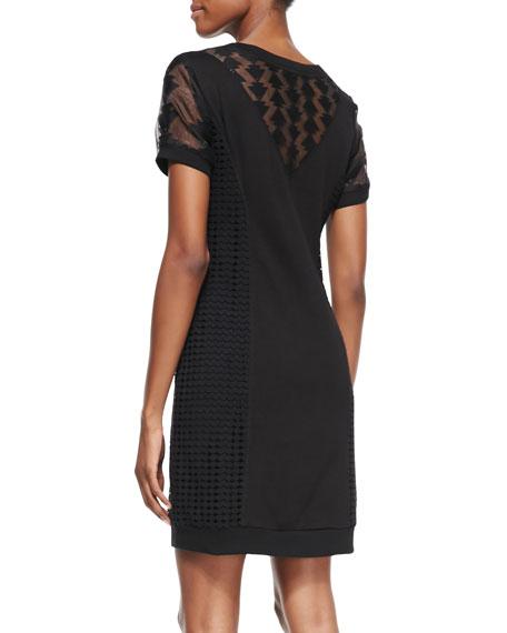 Genie Short-Sleeve Mixed-Pattern Sweatshirt Dress