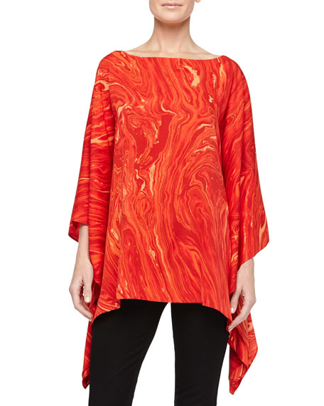 Marble On Crepe Poncho Top, Coral