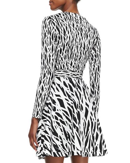 Printed Full-Skirt Silk Wrap Dress