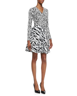 Diane von Furstenberg Printed Full-Skirt Silk Wrap Dress