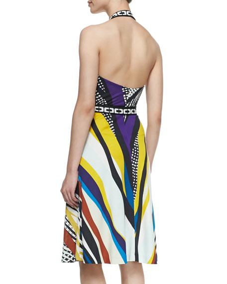 Printed Halter Wrap Dress