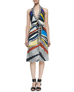 Diane von Furstenberg Printed Halter Wrap Dress