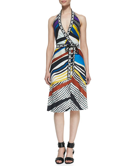 Printed Halter Wrap Dress