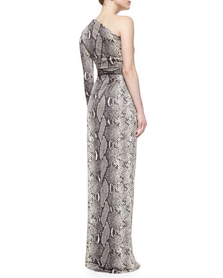 Snake-Print One-Shoulder Maxi Dress