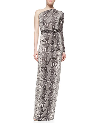Diane von Furstenberg Snake-Print One-Shoulder Maxi Dress