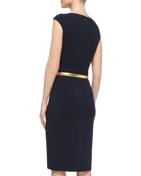 Cap-Sleeve Stretch Wool Crepe Dress, Midnight