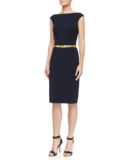 Michael Kors Cap-Sleeve Stretch Wool Crepe Dress, Midnight