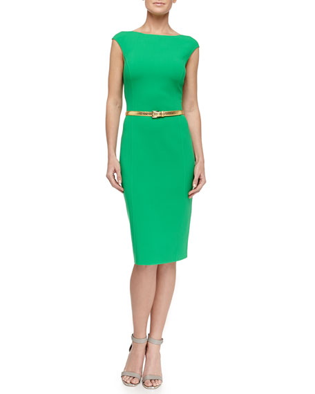 Cap-Sleeve Stretch Wool Crepe Dress, Palm