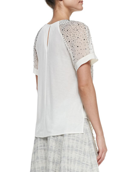 Studded Sheer-Sleeve Jersey Top