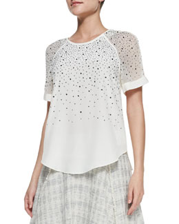 Rebecca Taylor Studded Sheer-Sleeve Jersey Top