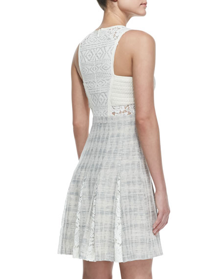 Tweed/Lace Sleeveless A-Line Dress