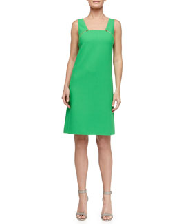 Michael Kors Zip-Detailed Tricotine Dress, Palm