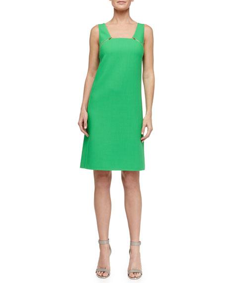 Zip-Detailed Tricotine Dress, Palm