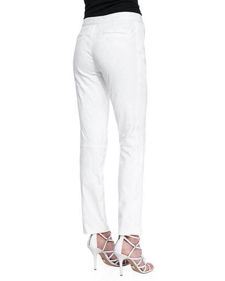 Ava Textured Straight-Leg Pants, Chalk