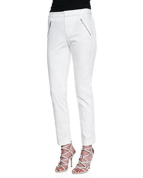 Ava Textured Straight-Leg Pants, Chalk