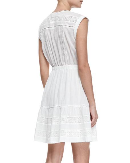 Novelty Cotton Eyelet Short-Sleeve Dress