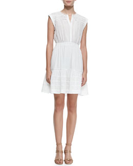 Rebecca Taylor Novelty Cotton Eyelet Short-Sleeve Dress