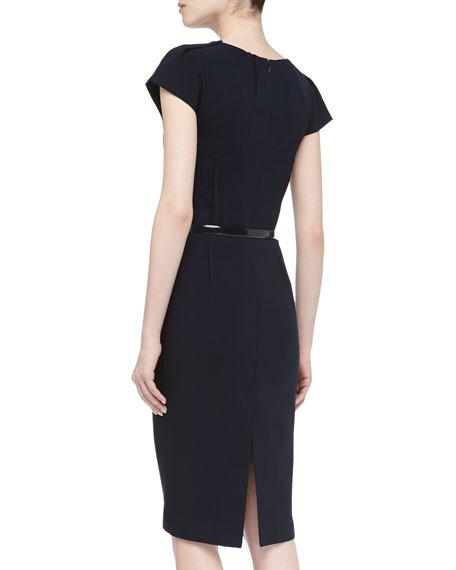 Cap-Sleeve Round-Neck Pintuck Wool Dress, Midnight