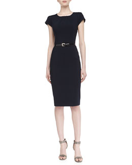 Michael Kors Cap-Sleeve Round-Neck Pintuck Wool Dress, Midnight