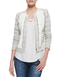 Rebecca Taylor Fringe-Trim Tweed/Lace Jacket